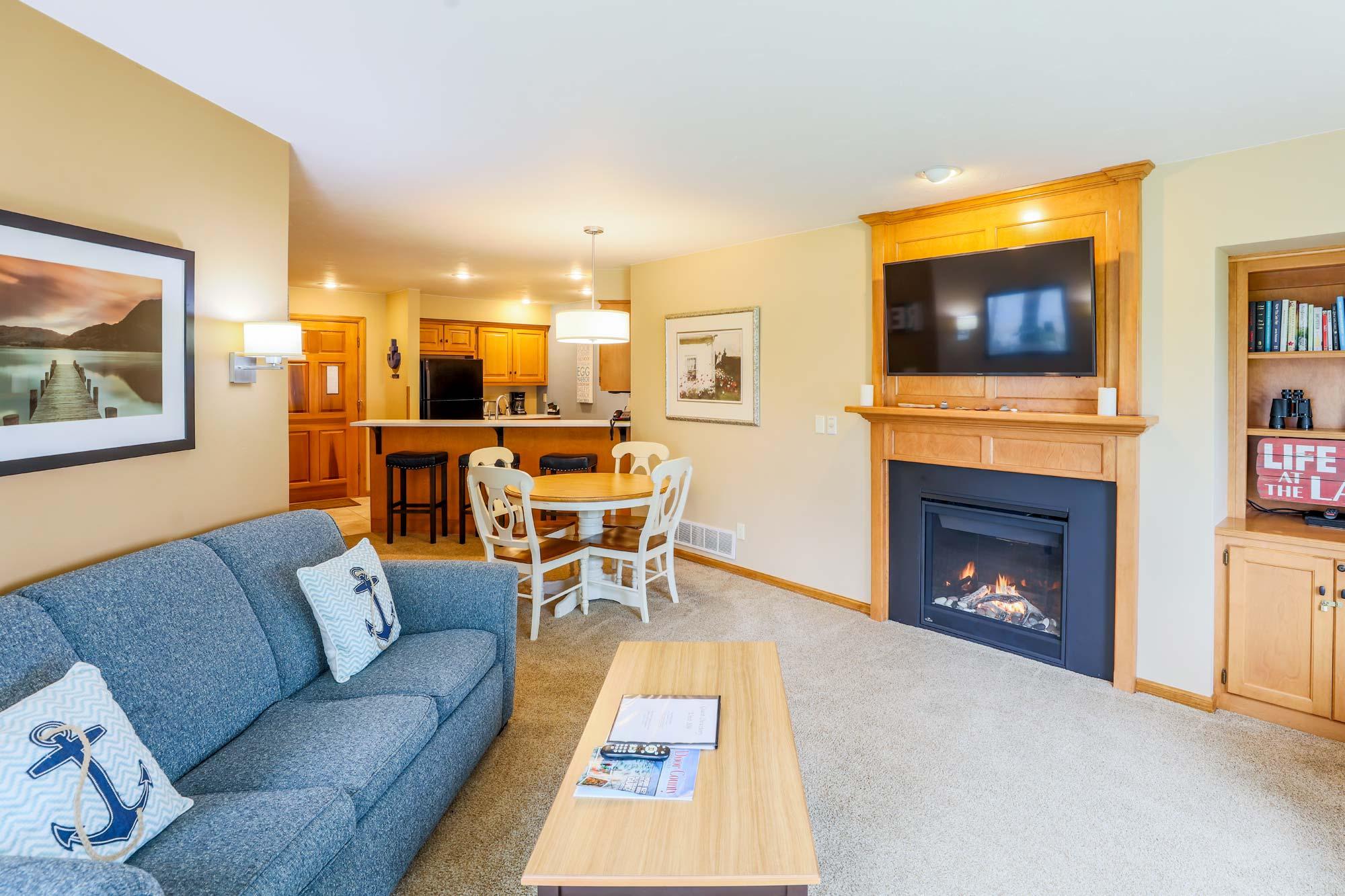 One Bedroom Living Room of Glidden Lodge, one of the Best Door County Hotels