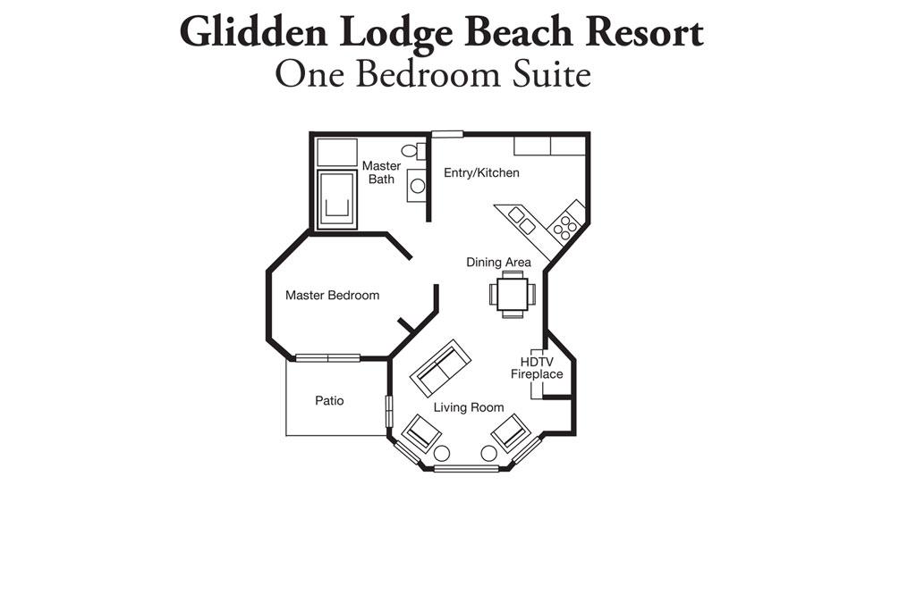 One Bedroom Resort Layout of Glidden Lodge Resort
