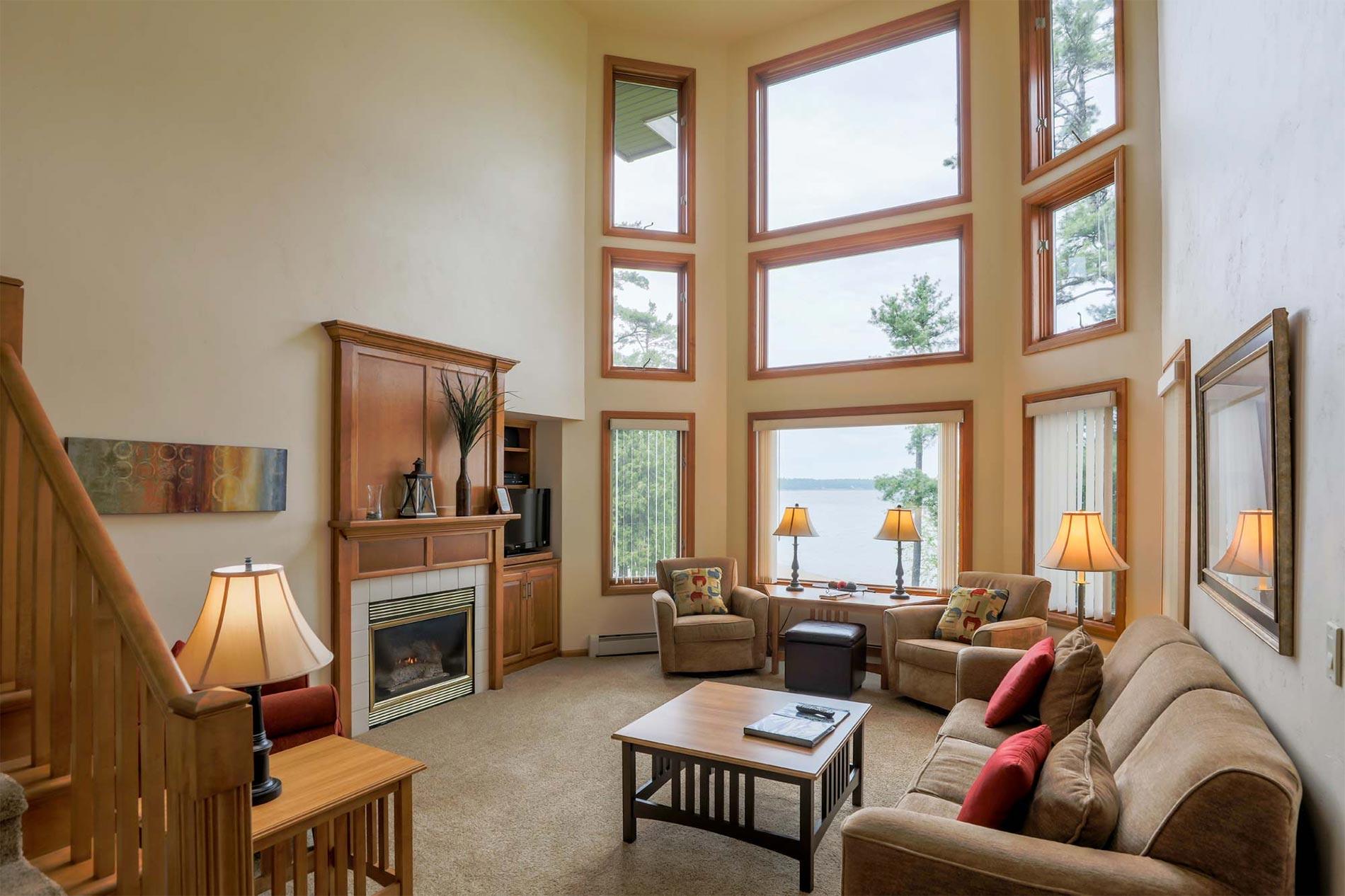 Living Room of Luxury Three Bedroom Vacation Rental at Door County Resort