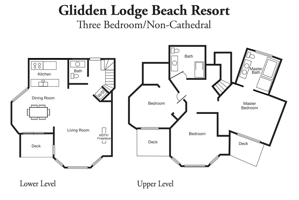 Layout of 3 Bedroom Resort Suites at Sturgeon Bay's Glidden Lodge Hotel