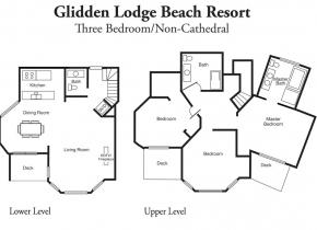 Layout of 3 Bedroom Resort Suites at Sturgeon Bay's Glidden Lodge Hotel