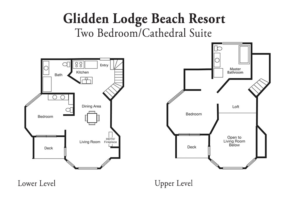 Layout of Two Bedroom Cathedral Vacation Rental at Door County Resort and Hotel
