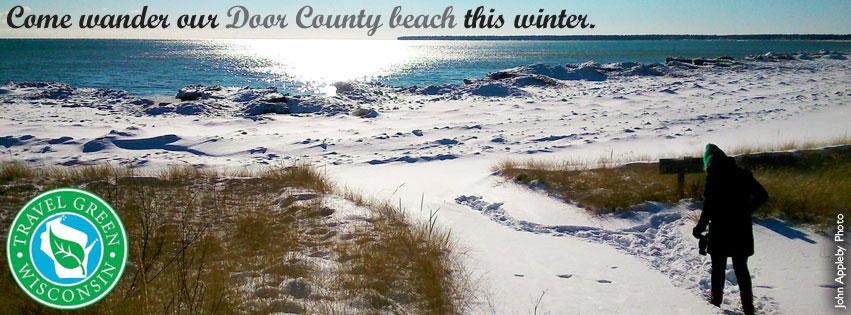 Door County's favorite naturalist Carolyn Rock and a Door County beach in winter