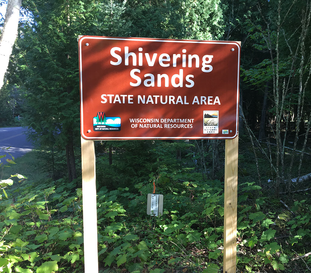 Entrance Signage at Shivering Sands Preserve Near Door County Hotel and Resort