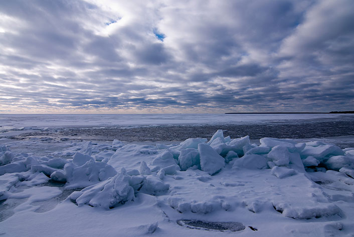 Ice Shoves on Door County's Lake Michigan During Wintertime Getaway Vacation