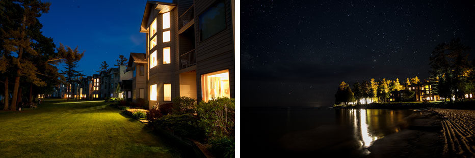 Night Light under the Pristine Star Studded Door County Sky at Glidden Lodge Beach Resort on Lake Michigan