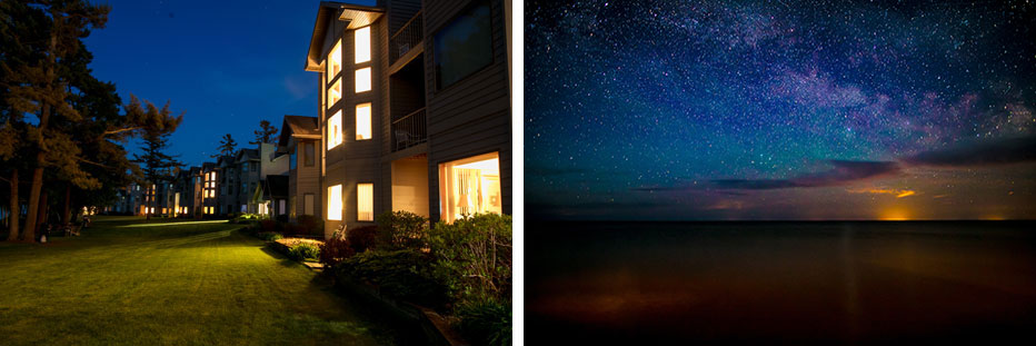 Night Light under the Pristine Star Studded Door County Sky at Glidden Lodge Beach Resort on Lake Michigan